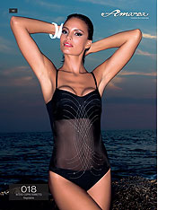 black mesh inset one piece swimsuit - Amarea style 018 - One-piece swimsuits