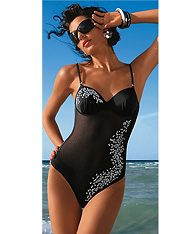 Black mesh inset one-piece swimsuit - Amarea style A019