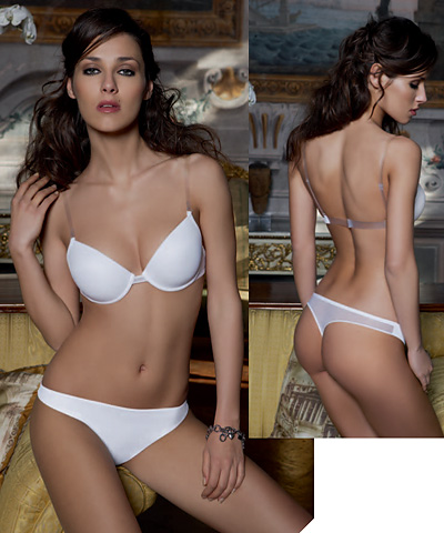 Underwired Push up bra with clear straps and back - Sogno Light
