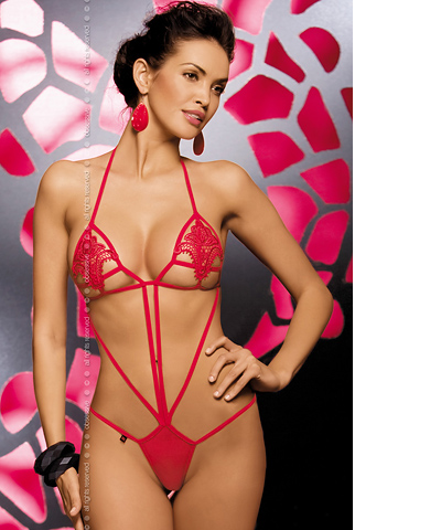 Red teddy erotic bodywear - Obsessive Luiza teddy style 301