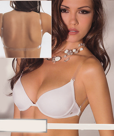Clear straps softly padded push up bras with clear back strap - Lormar art.1578