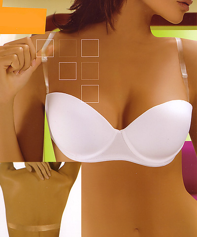 Backless strapless bras - clear straps and clear back bras - Vega Gold Invisible 2808