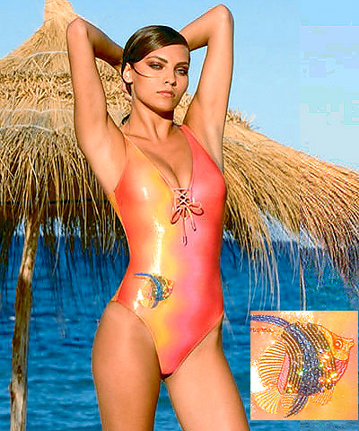 designer lycra one-piece swimsuit