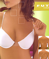 Clear strap bras - backless look with clear back  - Futura Visione Gold - Push Up Bras