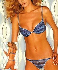 Tourquise Push up bras and String -  -