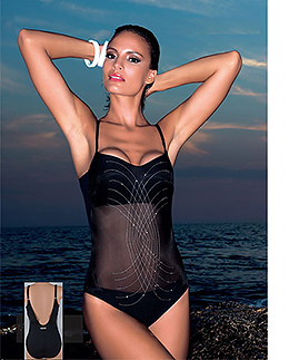 Black mesh inset one-piece swimwear