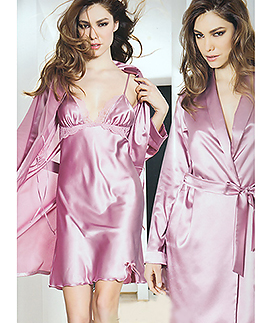 Satin lace nightgown and robe