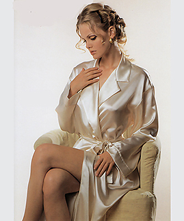 Long Satin Robe -  -
