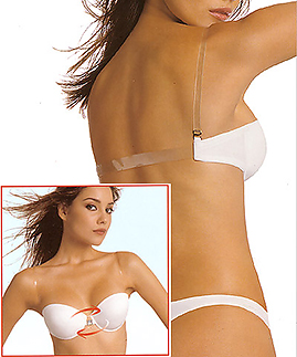 Backless bra - clear back and straps bra - Reggibello P2089 - Clear strap bra