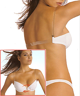Push up Backless Bras with clear strap and clear adjustable back strap -  -