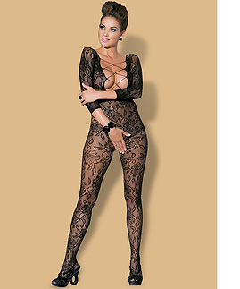 Black crochless bodystocking  -  -