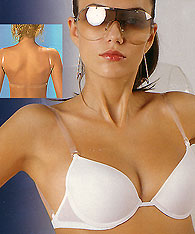 Clear  Back Gel type push up bra with transparent straps - Si e Lei style 1368 - Clear strap bras