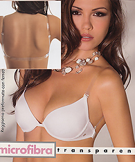 Clear straps softly padded push up bras with clear back strap -  -