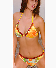 Women's Italian  Designer Swimwear - Triangle halter top and string bikini - Bikini Amarea style 052 - Women's  Designer Swimwear