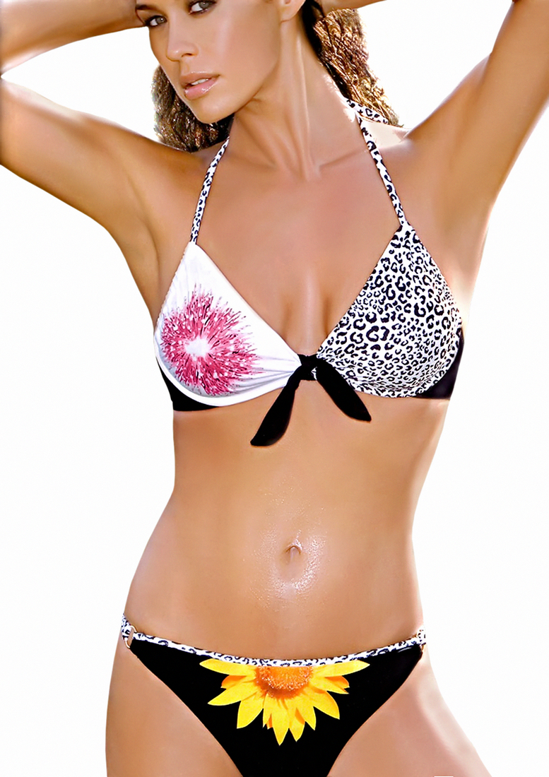 Black white rose bathing suite - Amarea style 198BLK