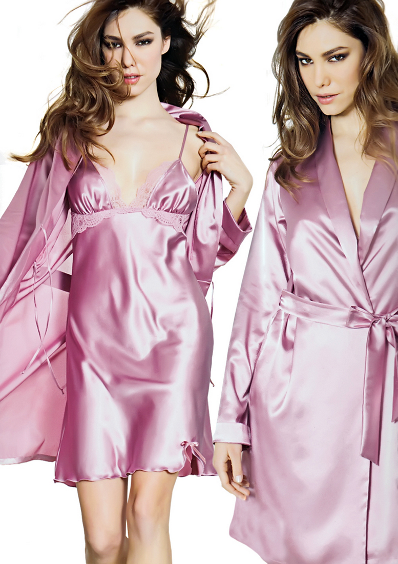 Satin lace nightgown and robe - Andra 3139
