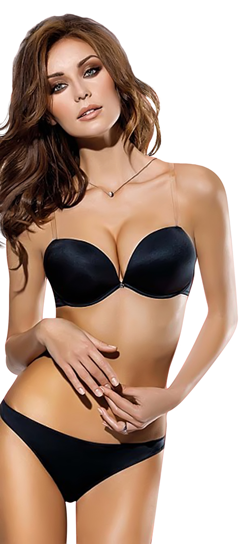 d87b03a41e ... Double push up bra with clear back - Lormar Double Gloss Formedouble