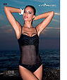 Black mesh inset one-piece swimwear - Amarea art A018
