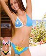 Women's designer swimwear - triangle top and string bikini - Amarea style 196BLUE -