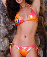 Green-pink neon orange bathing suit - Amarea style 235