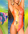 Women's designer swimwear - one-piece swimsuit  - Amarea style 237GREEN -